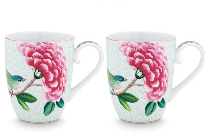 Blushing Birds Set of 2 Mugs large white