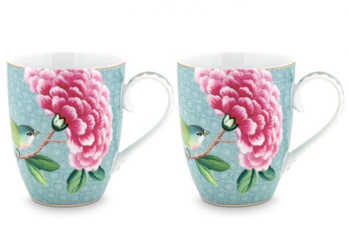 Blushing Birds Set of 2 Mugs large blue