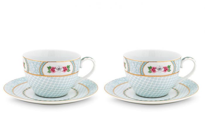 Blushing Birds set/2 cappuccino kop & schotel wit