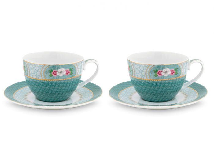 Blushing Birds set/2 cappuccino kop & schotel blauw