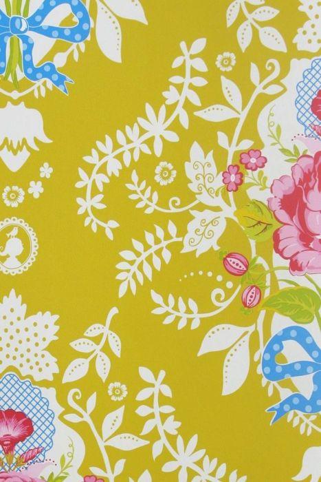 Shabby Chic Wallpaper Yellow
