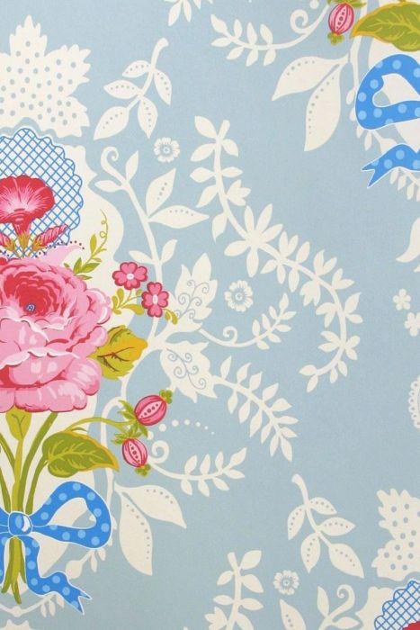 Shabby Chic Wallpaper Blue