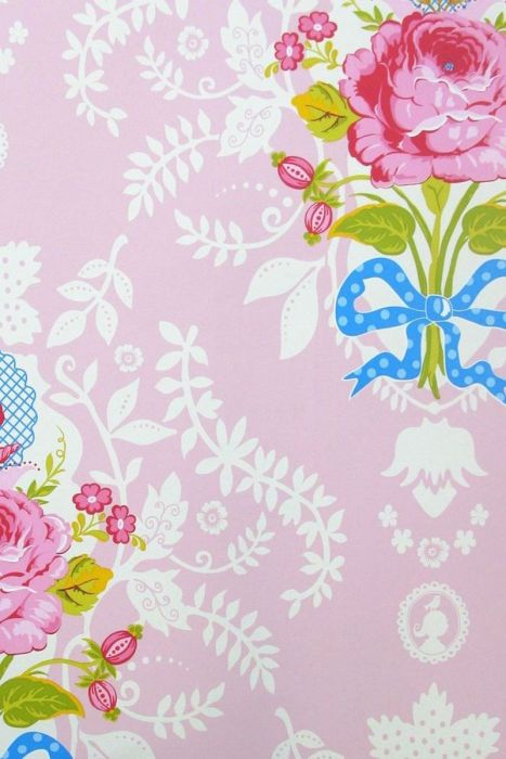 Shabby Chic Wallpaper Pink