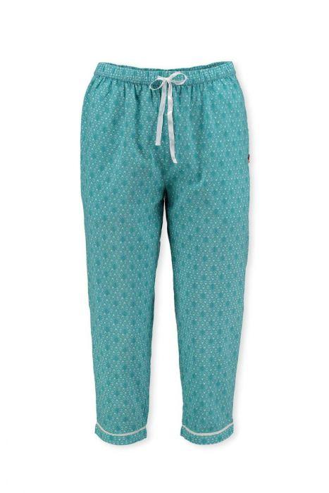 3 4 Trousers Leaves Aqua