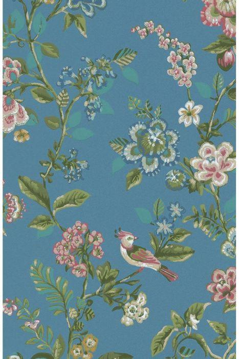 Botanical Print behang helderblauw