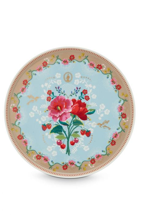 Floral Cake Tray Rose 30.5 cm Blue