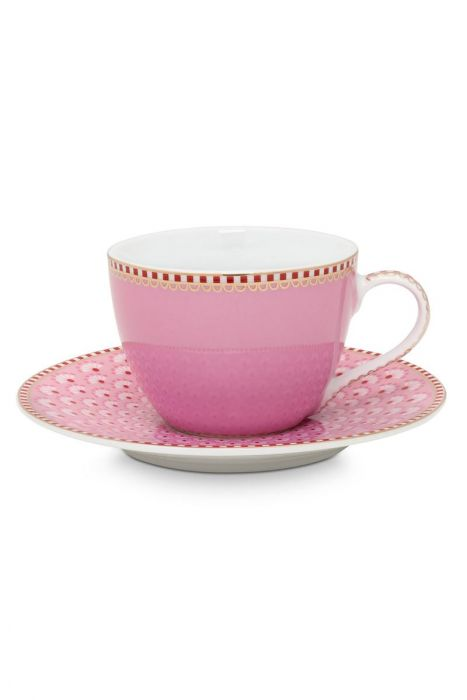 Floral Espresso Cup & Saucer Bloomingtails Pink