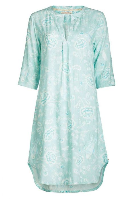 Nachthemd 3/4 Ärmel Indian Roses blau