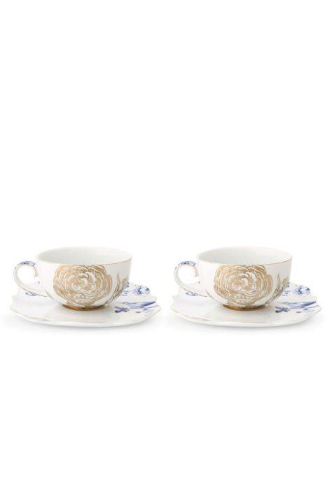 Royal White Set 2 Tea Cups Saucers