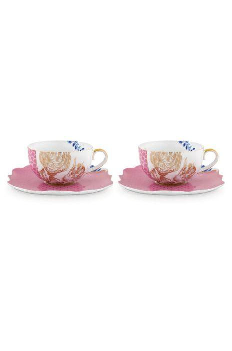 Royal Set 2 Tea Cups Saucers Pink