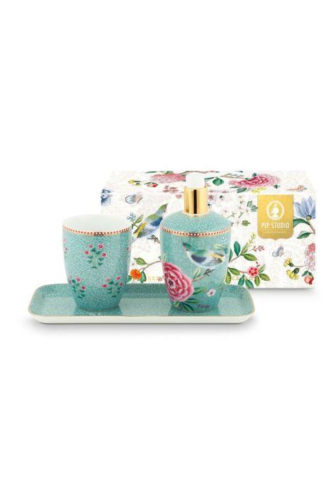 Badkameraccessoires set Floral Good Morning Blauw | Pip Studio the ...