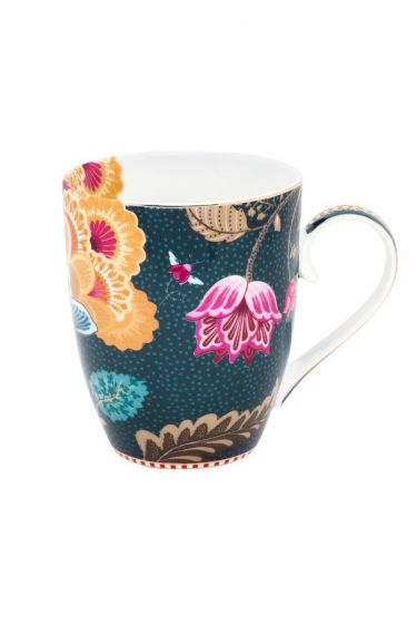 Floral Fantasy Mug Denim Blue Large