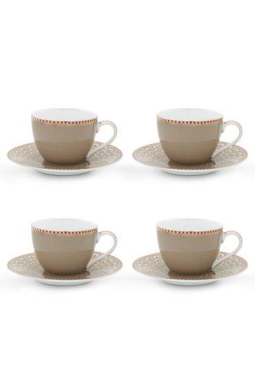 Floral Set/4 Espresso Cups & Saucers Khaki