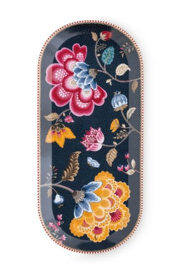 Floral Fantasy Cake Tray Denim Blue