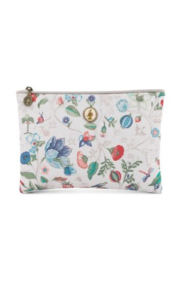 Flat toiletry bag Medium Spring to Life Off White