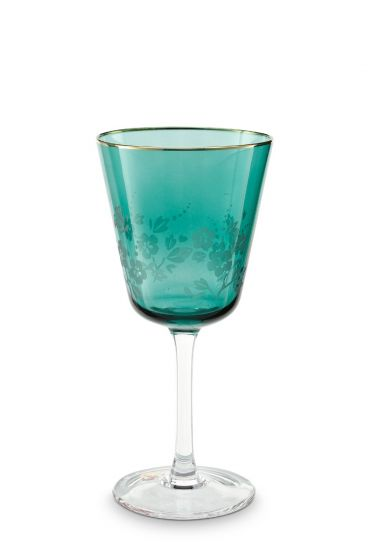 Blushing Birds Wine Glass Green