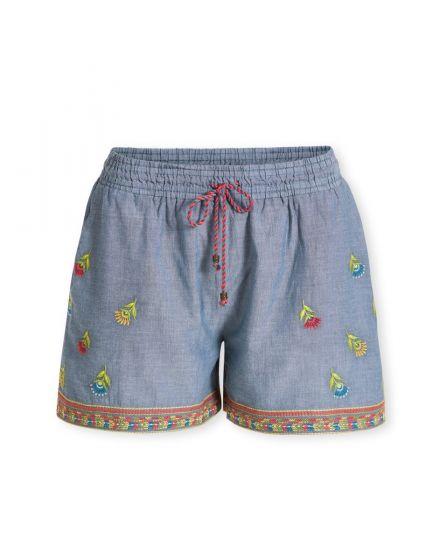 Korte broek Embroidery Halina blauw