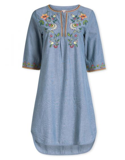 Dress 3/4 sleeve Embroidery Summer Flowers Blue