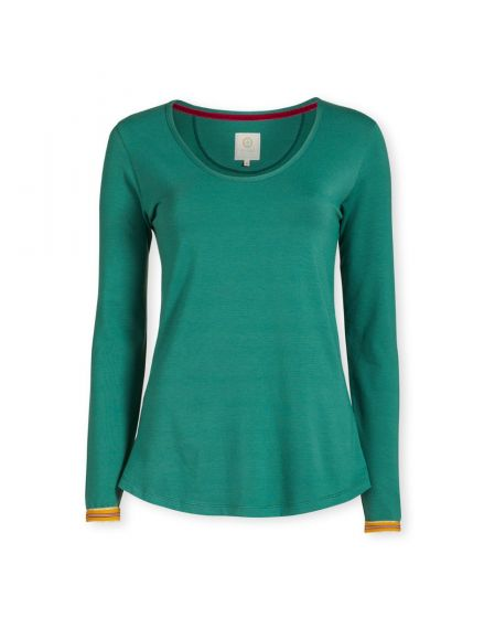 Top Lange Mouw Shiny Stripe Groen