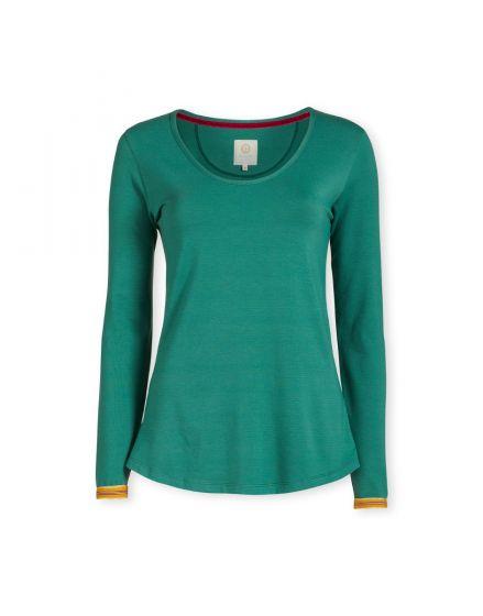 Top Long Sleeve Shiny Stripe Green