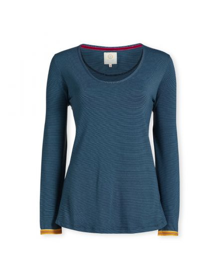 Top Long Sleeve Shiny Stripe Blue