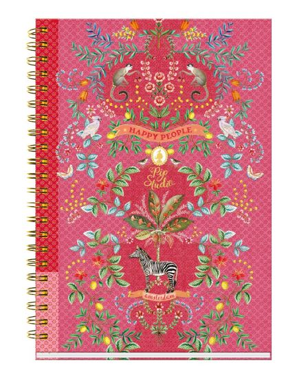 Hardcover collegeblock A4 Jungle Animals gelinieerd roze