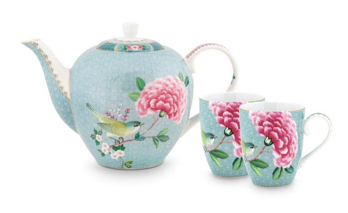 Blushing Birds Tea Set of 3 Blue