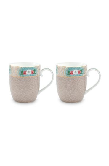 Blushing Birds Set of 2 Mugs Small Khaki