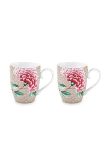 Blushing Birds Set of 2 Mugs Large Khaki
