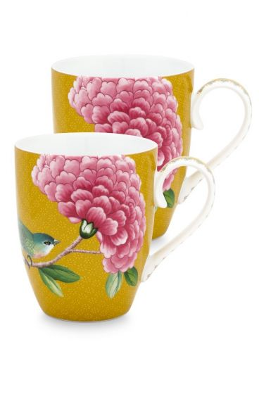 Blushing Birds Set of 2 Mugs large Yellow