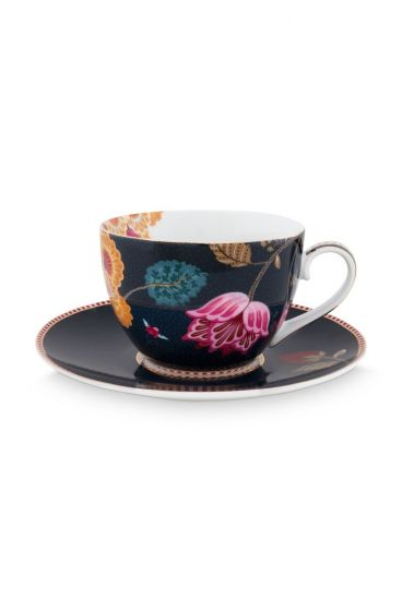 Floral Fantasy Cappuccino Cup & Saucer Denim Blue