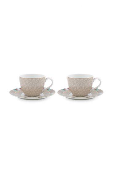 Blushing Birds Set of 2 Espresso Cups & Saucers Khaki
