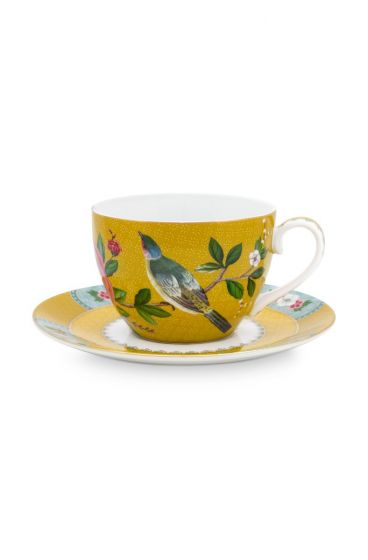 Blushing Birds Cup & Saucer Yellow