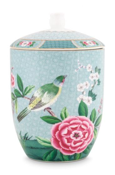 Blushing Birds Storage Jar blue