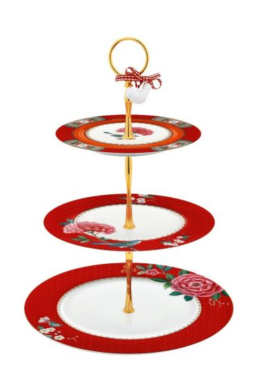 Blushing Birds Cake Stand 3 Levels Red