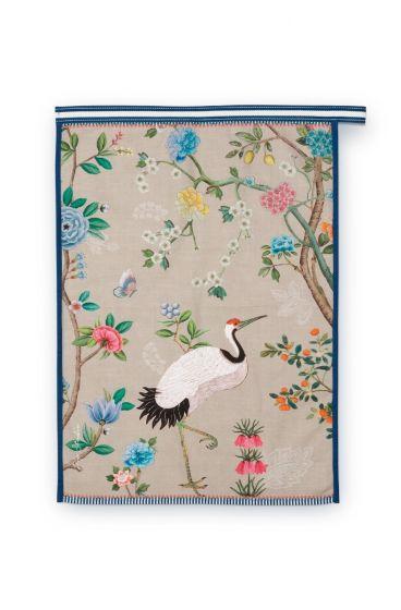Blushing Birds Theekdoek All-Over Print Khaki