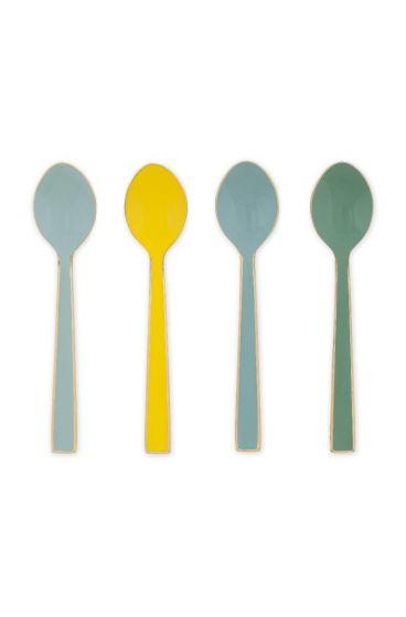 Blushing Birds set of 4 geëmailleerde spoons