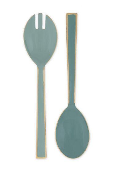 Blushing Birds Enamelled Salad Cutlery blue