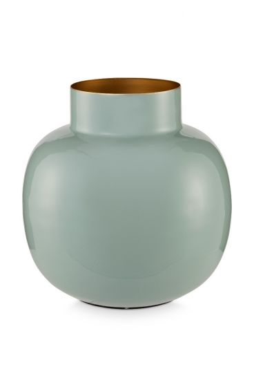 Round Metal Vase light blue 25 cm