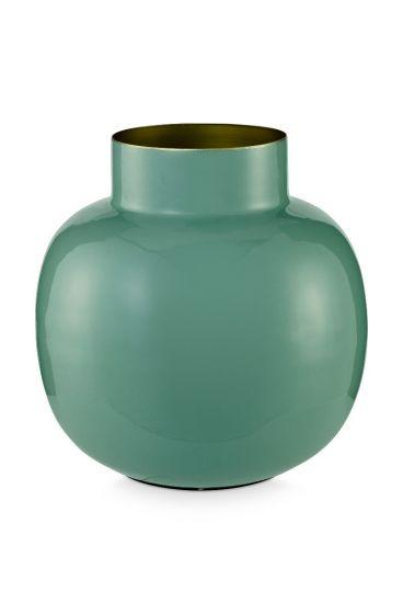 Ronde vaas metaal groen 25 cm