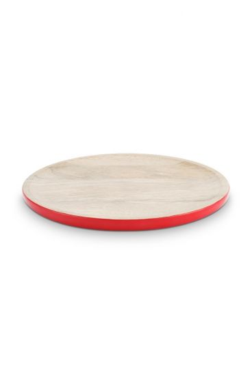Blushing Birds Wooden Plate Red 30 cm