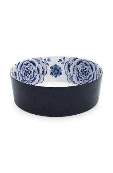 metall-schüssel-weiss-donkel-blau-Rosen-royal-white-pip-studio-26,5-cm