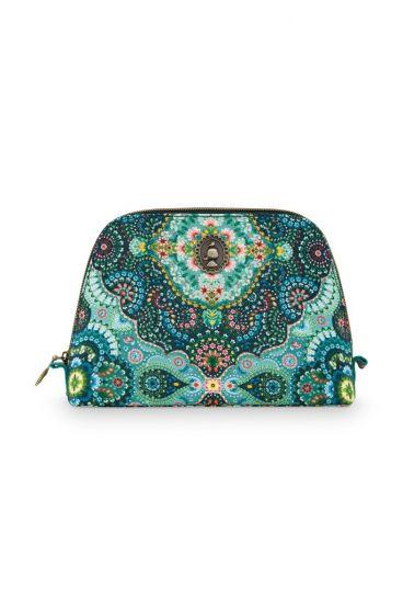 Cosmetic-bag-blue-floral-triangle-medium-moon-delight-pip-studio-24/17x16,5x8-PU