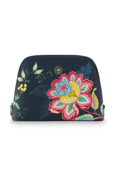 Cosmetic-bag-dark-blue-floral-triangle-jambo-flower-pip-studio-24/17x16,5x8-PU