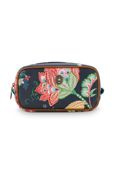 Cosmetic-bag-dark-blue-floral-square-jambo-flower-pip-studio-24/17x16,5x8-PU