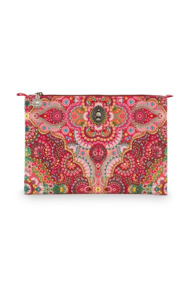 Cosmetic-flat-pouch-medium-red-floral-moon-delight-pip-studio-19.5x13x1cm-PU