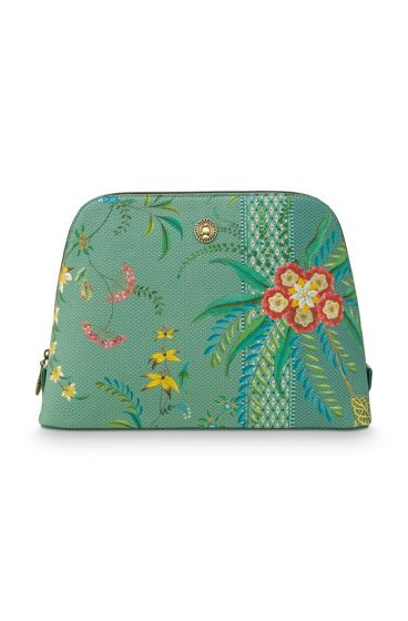 cosmetic-bag-triangle-large-fleur-mix-groen-29/21x20.5x9.5-cm-artificial-leather-1/12-pip-studio-51.274.132