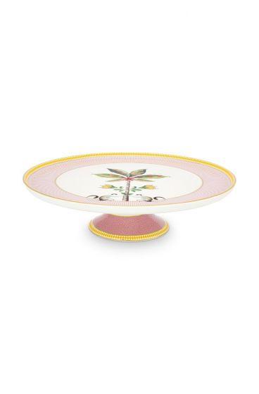 Torte-teller-30,5-cm-rosa-goldene-details-la-majorelle-pip-studio