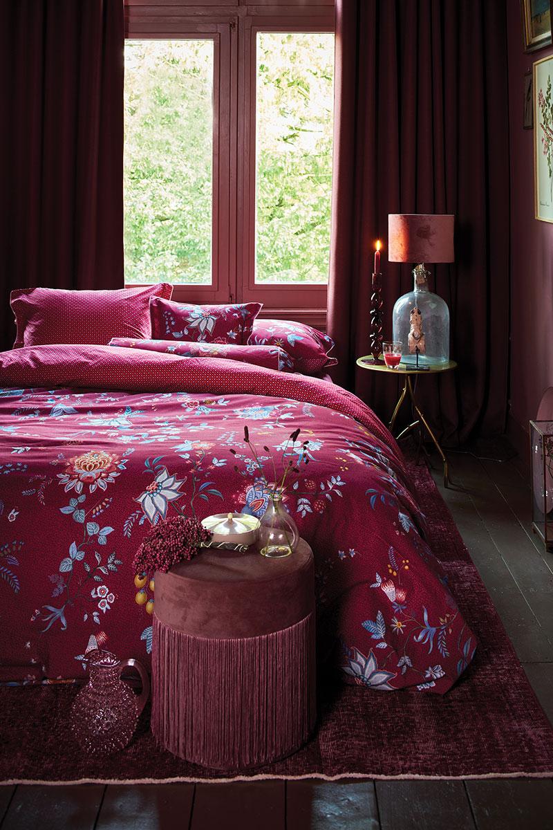 Color Relation Product Duvet Cover Flower Festival Dark Red