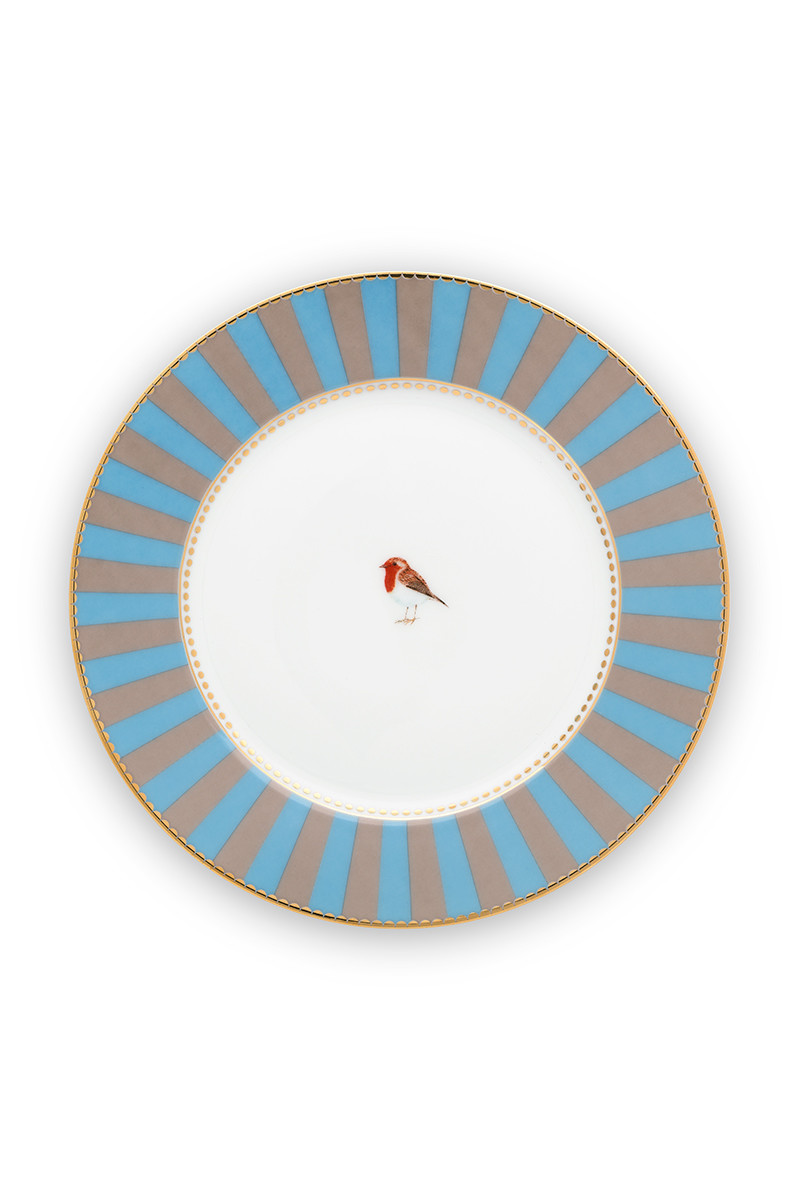 Color Relation Product Love Birds Pastry Plate Blue/Khaki 17 cm